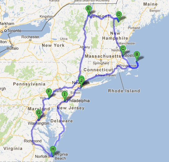 exemple road trip nord est USA