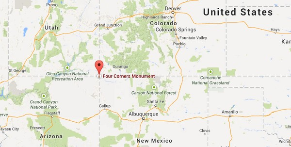 four corners monument carte